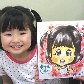 可愛くポップに描いた女の子の似顔絵