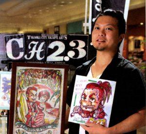 アメリカンコミック調 似顔絵師のパフォーマー