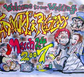 アメリカンコミック風に描かれた結婚式のウェルカムボード