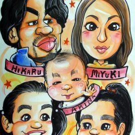国内でも数少ないアメリカンコミック調で似顔絵を描く似顔絵師が描いたご家族の似顔絵