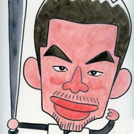 数々のコンテストでの賞歴を持つ男性似顔絵師が描いた有名メジャーリーガーの似顔絵