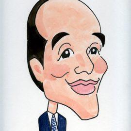顔の特徴をうまく活かしつつデフォルメ調で描かれた政治家の似顔絵