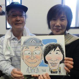 関西を代表する似顔絵師が描いたシンプルかつ温かみのあるご夫婦の似顔絵
