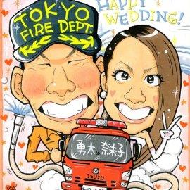 抜群の観察力を持つ似顔絵師が描いた結婚式ウェルカムボード