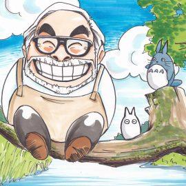 ポップで可愛いタッチで描かれた有名映画監督とアニメキャラクターの似顔絵