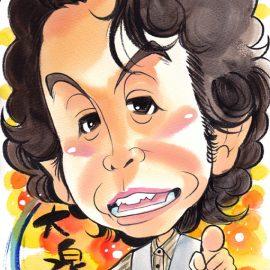 愛知県名古屋市を拠点に活動している人気似顔絵師がアニメのように可愛らしく描いた男性タレントの似顔絵