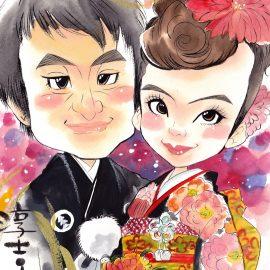 世界大会での優勝経験を持つ女性似顔絵師が描いた和装のご夫婦の似顔絵