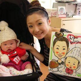 愛知県名古屋市を拠点に活動している似顔絵師が描いたお母さんと赤ちゃんの似顔絵