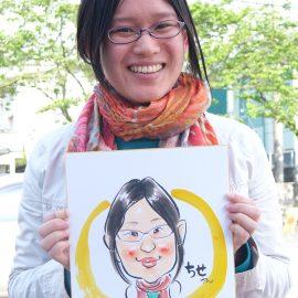 東海地方を中心に活躍している似顔絵師が描いた若い女性の似顔絵