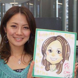可愛らしくキラキラした表情で描かれた女性の似顔絵