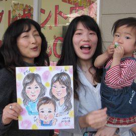似顔絵の技術だけでなくトークも好評の似顔絵師が描いたファミリーの似顔絵