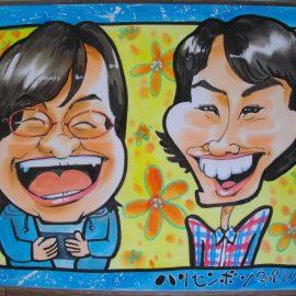 愛知県名古屋市在住の男性似顔絵師が描いた人気女性お笑いコンビの似顔絵