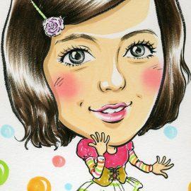 京都府を拠点に活動している女性似顔絵師が描いた女性タレントの似顔絵
