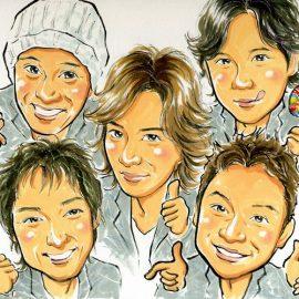 水彩絵の具を使って優しいタッチで描かれた人気音楽グループの似顔絵