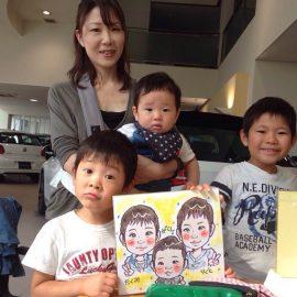 大阪を中心に活動する女性似顔絵師が描いたご兄弟の似顔絵