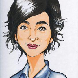 関東を拠点に活動しているベテラン似顔絵師が描いた女性キャスターの似顔絵