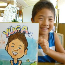 雑誌などに取り上げられたこともある女性似顔絵師が描いた元気な男の子の似顔絵