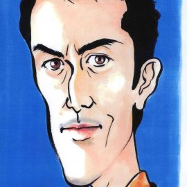 幅広い年齢層から人気の高い女性似顔絵師が描いた男性俳優の似顔絵