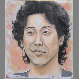 水彩絵具を使ってリアルタッチで描かれた人気男性タレントの似顔絵