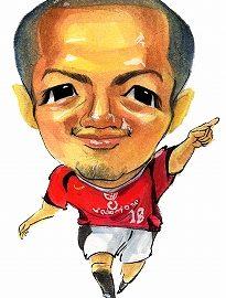 サッカー選手のイキイキとした表情を捉えた似顔絵