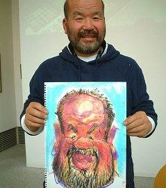 関東を中心に活躍する似顔絵師が描いたユーモアたっぷりの男性の似顔絵