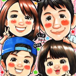 大手似顔絵事務所に在籍した経験を持つ似顔絵師が描いた4人家族の似顔絵
