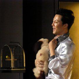 愛犬と共にショーを展開するマジシャン