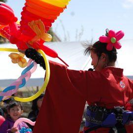 大きな鳥のバルーンアートを作って披露する女性バルーンパフォーマー