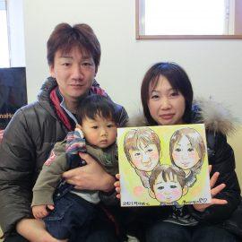 関東地方を中心に活躍している男性似顔絵師が描いたファミリーの似顔絵