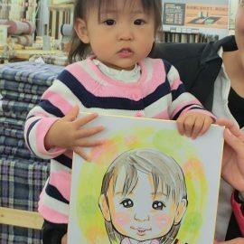 特徴を掴んで可愛らしく描かれた小さな女の子の似顔絵