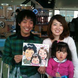 愛知県を拠点として活動中の男性似顔絵師が描いたご家族の似顔絵