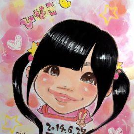 埼玉県を拠点に全国で活躍している似顔絵師が描いた女の子の似顔絵