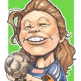 大阪拠点とする人気似顔絵師がデフォルメタッチで描いた女子サッカー選手の似顔絵