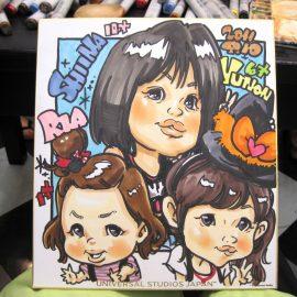 関西の有名テーマパークでも働いている男性似顔絵師が描いた3人姉妹の似顔絵