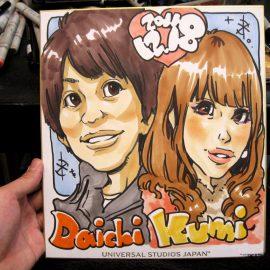 関西在住の若手似顔絵師が描いたカップルの似顔絵