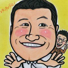 リアルかつアニメのようなタッチで描かれた人気お笑いコンビの似顔絵