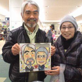 長野県などで人気の男性似顔絵師が描いた仲の良いご夫婦の似顔絵