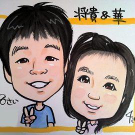きれいめな画風が特徴の女性似顔絵師が描いたご兄妹の似顔絵