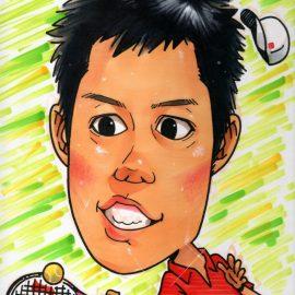 日本を代表するスポーツ選手をコミカルなデフォルメタッチで描いた似顔絵