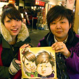 世界大会で数々の賞歴がある似顔絵師が描いたカップルの似顔絵