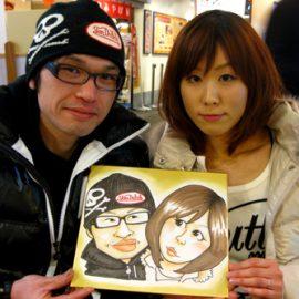 関西を中心に活躍する人気似顔絵師が描いたご夫婦の似顔絵