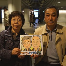 可愛さを加えてそっくりに描かれたご夫婦の似顔絵