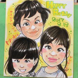 大阪など関西地方を中心に活躍する似顔絵が描いたお誕生日祝いの似顔絵