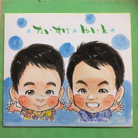 大阪を拠点に様々なイベントに出演している女性似顔絵師が描いた小さい兄弟の似顔絵