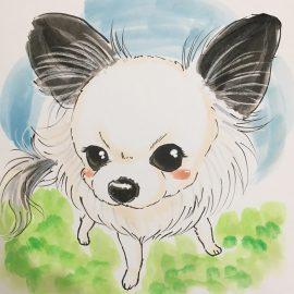 温かみのある画風が好評の似顔絵師が描いたペットの犬の似顔絵