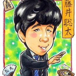 可愛らしい画風が大好評の男性似顔絵師が描いた藤井聡太の似顔絵