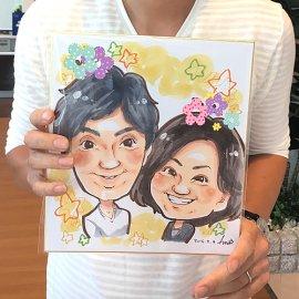 イベントで女性似顔絵師がお描きしたご夫婦の似顔絵