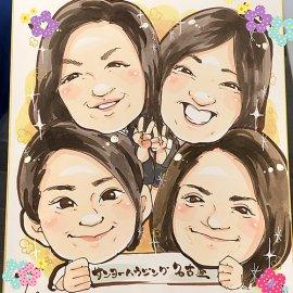 住宅メーカーの似顔絵イベントでお描きした柔らかい色彩の女性4人の似顔絵