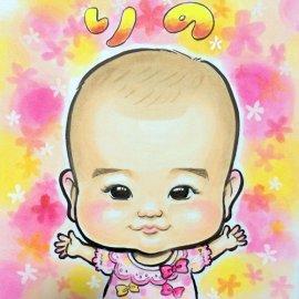 女性似顔絵師が描いた心がほっこりするような赤ちゃんの似顔絵