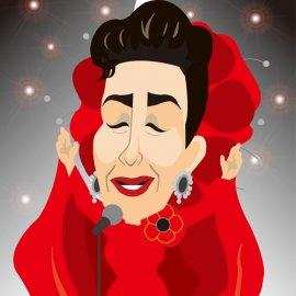 可愛いデフォルメタッチが特徴の女性似顔絵師が作成した美空ひばりの似顔絵
